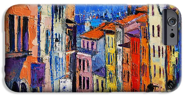 Facade iPhone Cases - Lyon Colorful Cityscape iPhone Case by Mona Edulesco