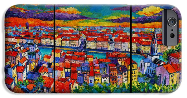 Abstract Expressionist iPhone Cases - Lyon Panorama Triptych iPhone Case by Mona Edulesco