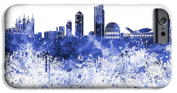 Lyon iPhone Cases - Lyon skyline in blue watercolor on white background iPhone Case by Pablo Romero