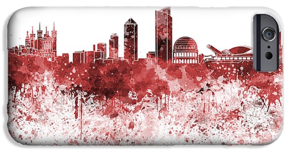Lyon iPhone Cases - Lyon skyline in red watercolor on white background iPhone Case by Pablo Romero
