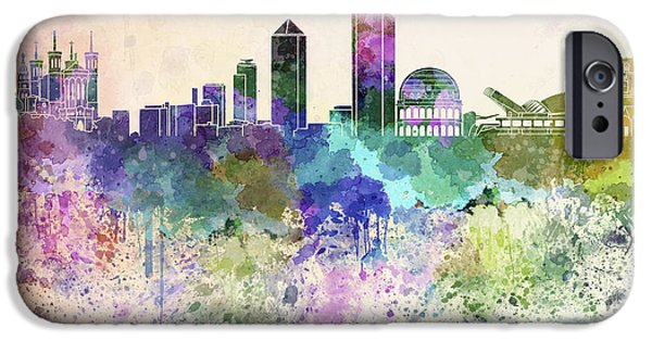 Lyon France iPhone Cases - Lyon skyline in watercolor background iPhone Case by Pablo Romero