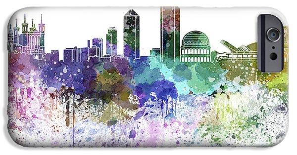 Lyon France iPhone Cases - Lyon skyline in watercolor on white background iPhone Case by Pablo Romero