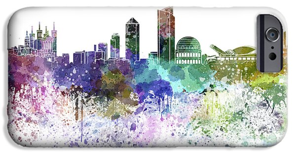 Lyon iPhone Cases - Lyon skyline in watercolor on white background iPhone Case by Pablo Romero