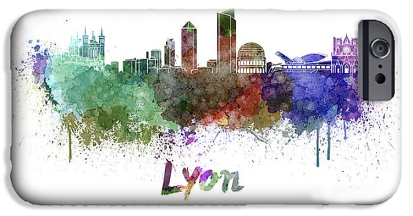 Lyon France iPhone Cases - Lyon skyline in watercolor iPhone Case by Pablo Romero