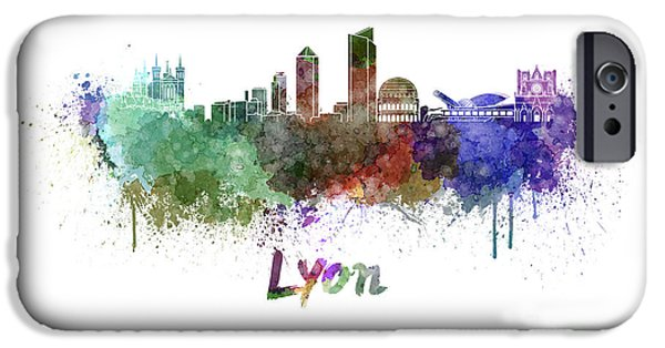 Lyon iPhone Cases - Lyon skyline in watercolor iPhone Case by Pablo Romero