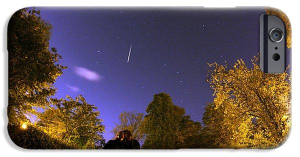 Stargazing iPhone Cases - Lyrid Meteor iPhone Case by John Chumack