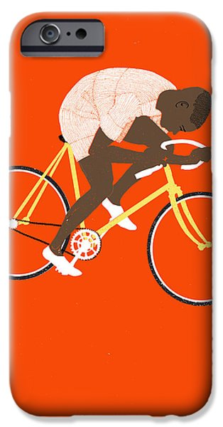Biking Drawings iPhone Cases - M Tred iPhone Case by Eliza Southwood