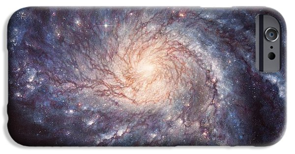 Supernova Paintings iPhone Cases - M101 Pinwheel Galaxy iPhone Case by Lucy West