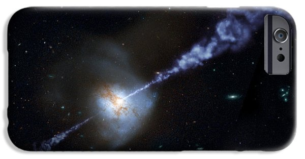 Deep Space Art Paintings iPhone Cases - iod universe - Interacting spiral galaxies iPhone Case by Celestial Images
