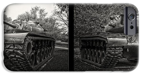 Weapon iPhone Cases - M48 Patton Tank 2 Panel View iPhone Case by Thomas Woolworth