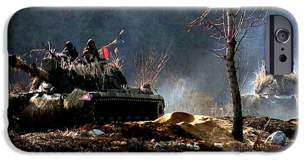 5th Infantry Regiment iPhone Cases - M48 Tanks an Tankers on the Job in Korean War iPhone Case by  Bob and Nadine Johnston