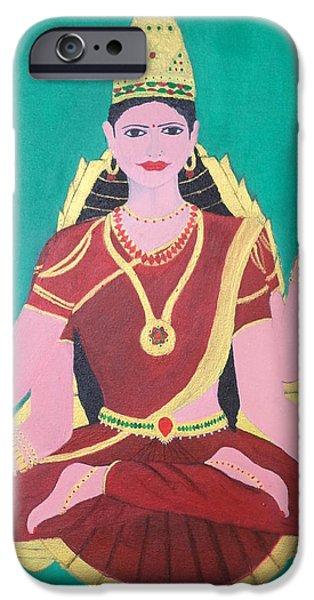 Hindu Goddess Paintings iPhone Cases - Ma Sharada iPhone Case by Pratyasha Nithin