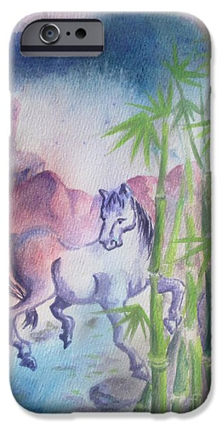 Year Of The Horse iPhone Cases - Ma the Horse iPhone Case by Lynn Maverick Denzer