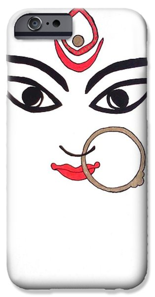 Religious Drawings iPhone Cases - Maa Kali iPhone Case by Kruti Shah