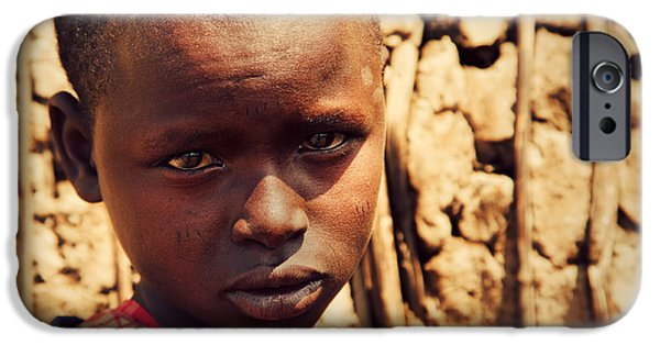 East Village iPhone Cases - Maasai child portrait in Tanzania iPhone Case by Michal Bednarek