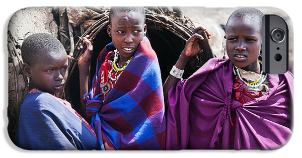 East Village iPhone Cases - Maasai children portrait in Tanzania iPhone Case by Michal Bednarek