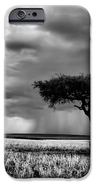 Maasai Mara In Black And White iPhone Case by Amanda Stadther