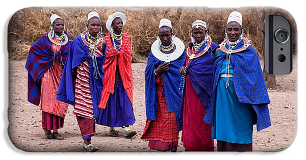 East Village iPhone Cases - Maasai women in front of their village in Tanzania iPhone Case by Michal Bednarek