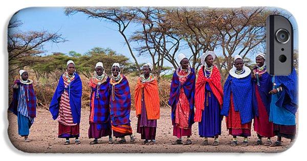 East Village iPhone Cases - Maasai women in their village in Tanzania iPhone Case by Michal Bednarek