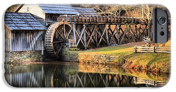 Grist Mill iPhone Cases - Mabry Grist Mill Fall Panorama iPhone Case by Adam Jewell