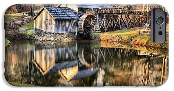 Grist Mill iPhone Cases - Mabry Grist Mill Panorama iPhone Case by Adam Jewell