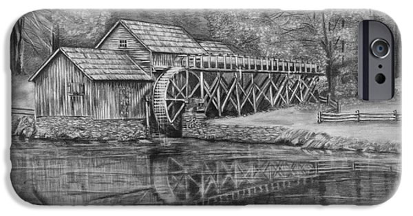 Fence Drawings iPhone Cases - Mabry Mill Pencil Drawing iPhone Case by Lena Auxier