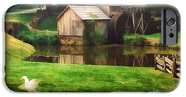 Old Mill Scenes Photographs iPhone Cases - Mabrys Mill and the Welcoming Committee iPhone Case by Darren Fisher