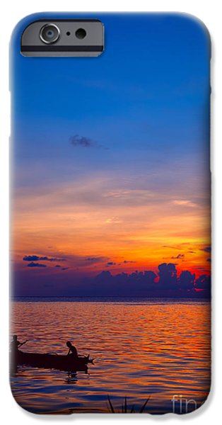 Exoticism iPhone Cases - Mabul island sunset Borneo Malaysia iPhone Case by Fototrav Print