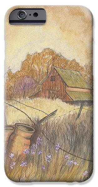 Old Barns Pastels iPhone Cases - Mac Gregors Barn  iPhone Case by Carol Wisniewski