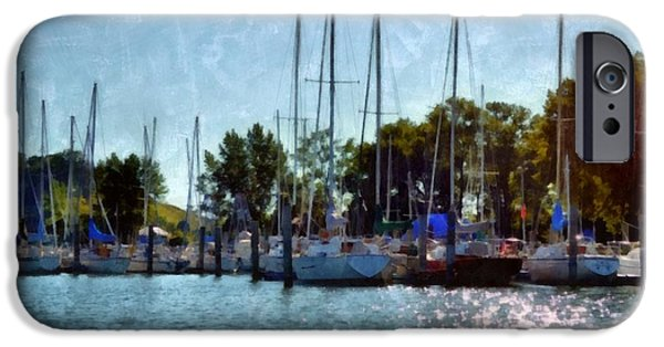 Sailboats Docked iPhone Cases - Macatawa Masts iPhone Case by Michelle Calkins