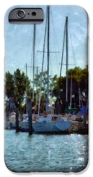 Macatawa Masts iPhone Case by Michelle Calkins