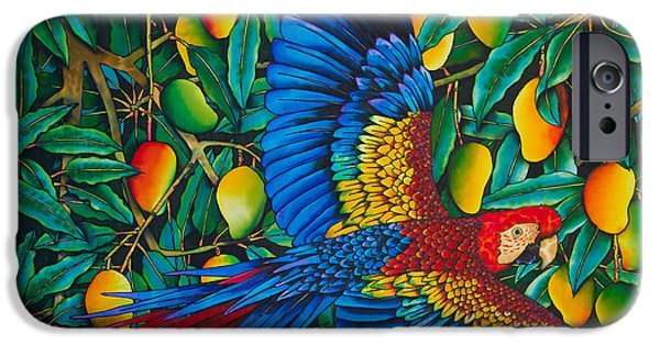 Food And Beverage Tapestries - Textiles iPhone Cases - Macaw in Mango tree iPhone Case by Daniel Jean-Baptiste