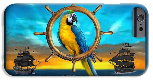 Recently Sold -  - Pirate Ships iPhone Cases - Macaw Pirate Parrot iPhone Case by Glenn Holbrook