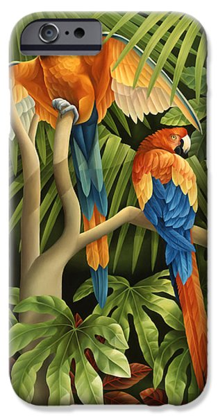 Rainforest iPhone Cases - Macaws Pair iPhone Case by Laura Regan