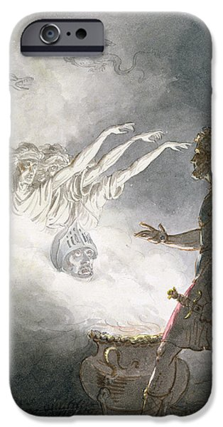 Eerie iPhone Cases - Macbeth And The Apparition Of The Armed Head, Act Iv, Scene I, From Macbeth, By William Shakespeare iPhone Case by William Marshall Craig