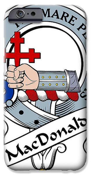 Genealogy iPhone Cases - MacDonald of Sleat Clan Badge iPhone Case by Heraldry