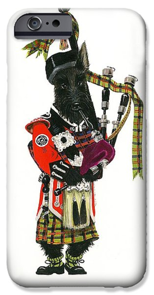 Scottish Terrier Art iPhone Cases - MacDuff and the Pipes iPhone Case by Margaryta Yermolayeva