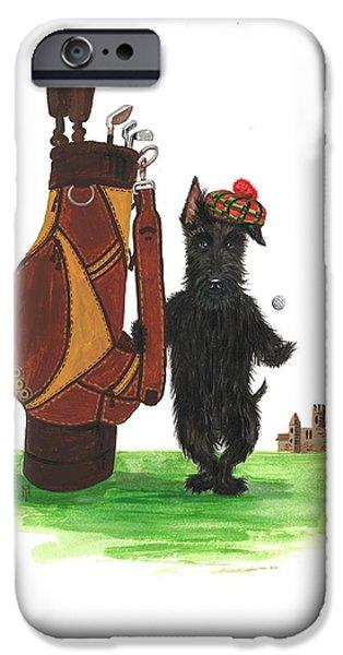 Scottish Terrier Watercolor iPhone Cases - MacDuff Plays Golf iPhone Case by Margaryta Yermolayeva