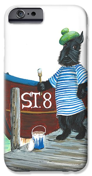Scottish Terrier Watercolor iPhone Cases - MacDuff the Sailor iPhone Case by Margaryta Yermolayeva