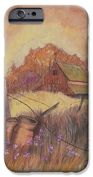Old Barn Drawing iPhone Cases - MacGregors Barn pstl iPhone Case by Carol Wisniewski