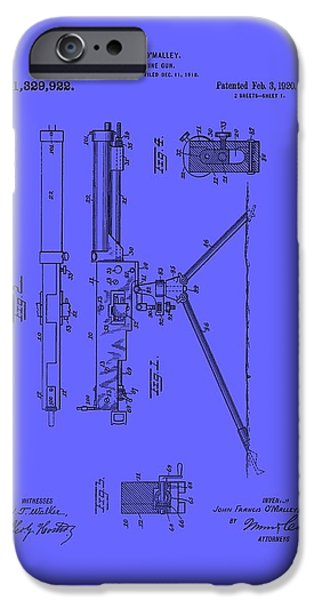Weapon Drawings iPhone Cases - Machine Gun Patent 1920 iPhone Case by Mountain Dreams