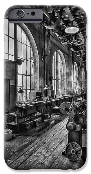 Watch Parts iPhone Cases - Machine shop BW iPhone Case by Susan Candelario