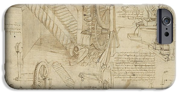 Invention iPhone Cases - Machines to lift water draw water from well and bring it into houses from Atlantic Codex  iPhone Case by Leonardo Da Vinci