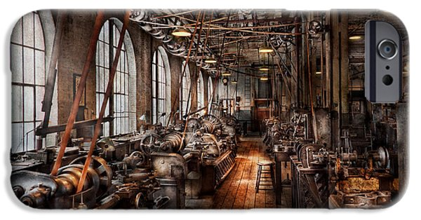Mechanics Photographs iPhone Cases - Machinist - A fully functioning machine shop  iPhone Case by Mike Savad