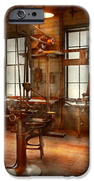 Old Grinders iPhone Cases - Machinist - A lone grinder  iPhone Case by Mike Savad
