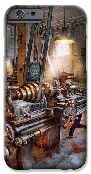 Work Tool iPhone Cases - Machinist - Fire Department Lathe iPhone Case by Mike Savad