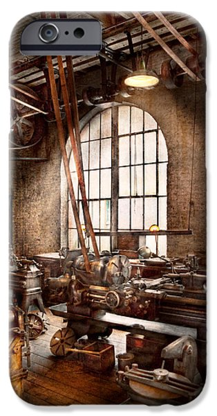Old Mill Scenes iPhone Cases - Machinist - I like big tools iPhone Case by Mike Savad