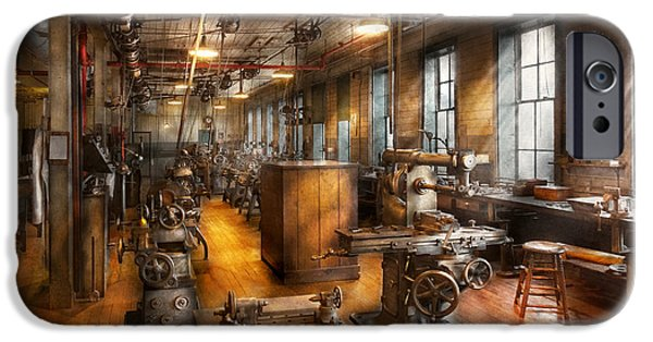 Self Photographs iPhone Cases - Machinist - Industrious Society iPhone Case by Mike Savad