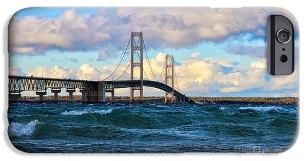 Famous Bridge iPhone Cases - Mackinac Among the Waves iPhone Case by Rachel Cohen