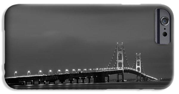 Night iPhone Cases - Mackinac Bridge Black and White iPhone Case by Sebastian Musial